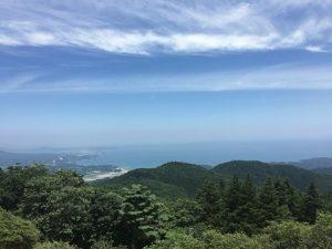 南三陸の風景。手前に山の緑、そのむこうに静かな海がみえる。
